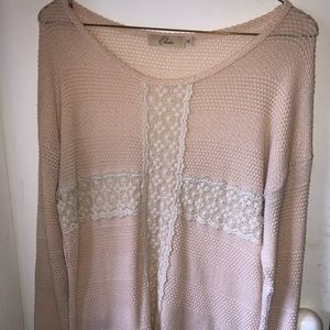 Light pink sweater with lace detailing